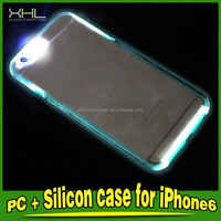 PC+Silicon LED Blinking Case For IPhone, LED Reminding Case For Phones, LED Case