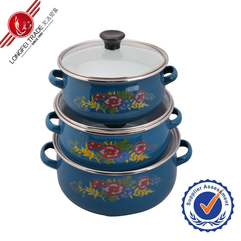 3PCS cookware enamel korean soup pots