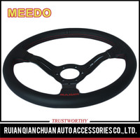 "350mm 14"" Black PVC Leather Red Stitch Black Spoke 6 Hole Racing Aluminum Steering Wheels with Horn Button"