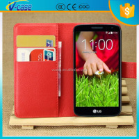 PU Leather Cover and Flowers and Plants Design Card Holder Leather Wallet case For LG G2