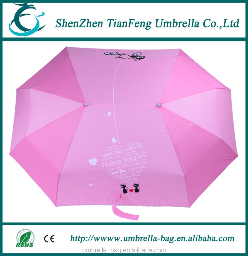 Top Sell Customized Auto Open And Close Couple 3 Fold Umbrella