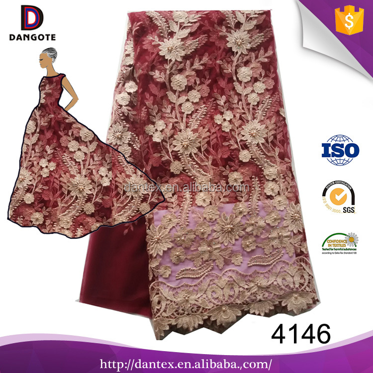 Wine color high quality wedding dress lace appliques bridal lace fabric wholesale lace fabric dubai with beads and pearls 4146
