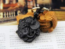 Customize High-grade black wood 3D carving Dragon Lucky ebony woodwork car key holder