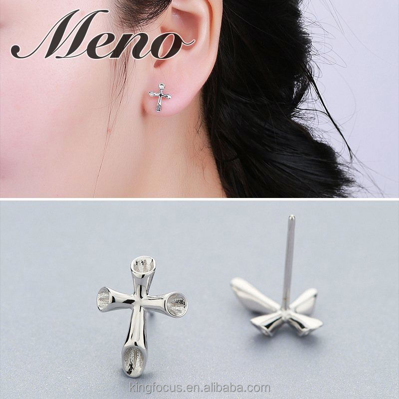 Meno S925 silver stud fashion earrings cross ear clip pure