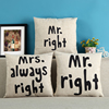 New 2pcs Black White Mr Right Mrs Always Right Couple Pillow Case Cushion Cover Set