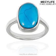 MECYLIFE Stainless Steel Oval Shape Turquoise Ring O-Ring