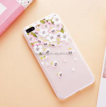 Diamond TPU Flower case back cover for iPhone 7 7 plus, 3D feel tpu cover for iPhone 7