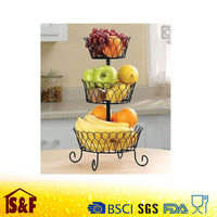 New Kitchen Fruit Basket Rack 3 Tier Holder Storage Organizer Stand Wire, Black