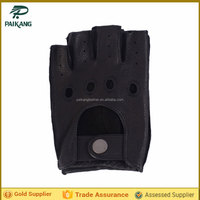 Mens black leather gloves cut finger with button