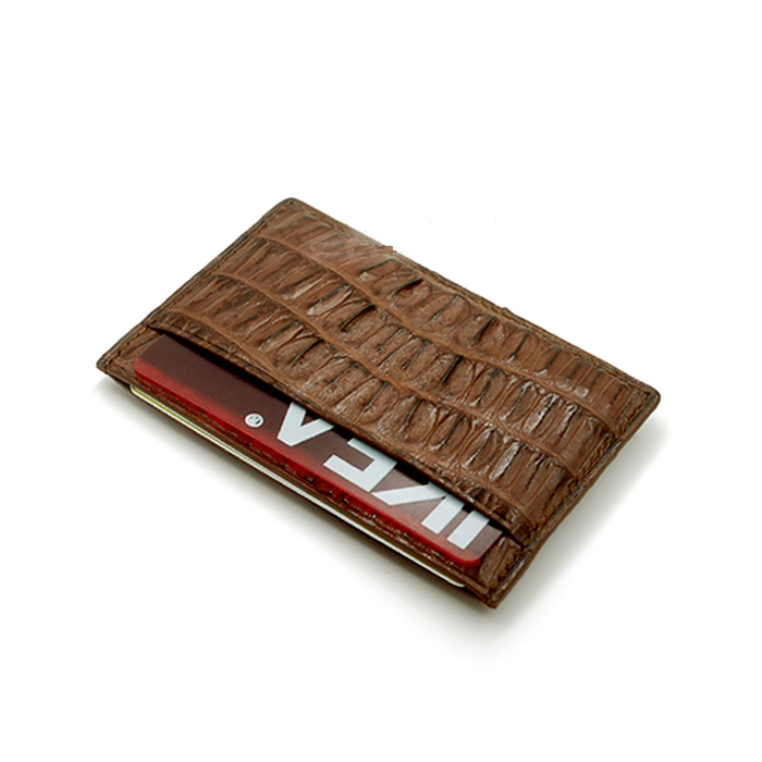 Genuine Caiman Crocodile Hornback Skin Real Leather Card Holder