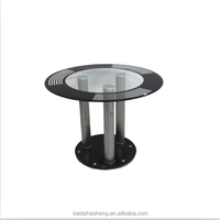 fashion industrial black round glass small dining room table sets