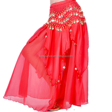 BestDance sexy red belly dance circle skirt tribal belly dance long chiffon skirt ballroom dance skirt for women OEM