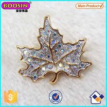 Wholesale Alloy Gold AB Crystal Maple Leaf Brooch Pin #5245