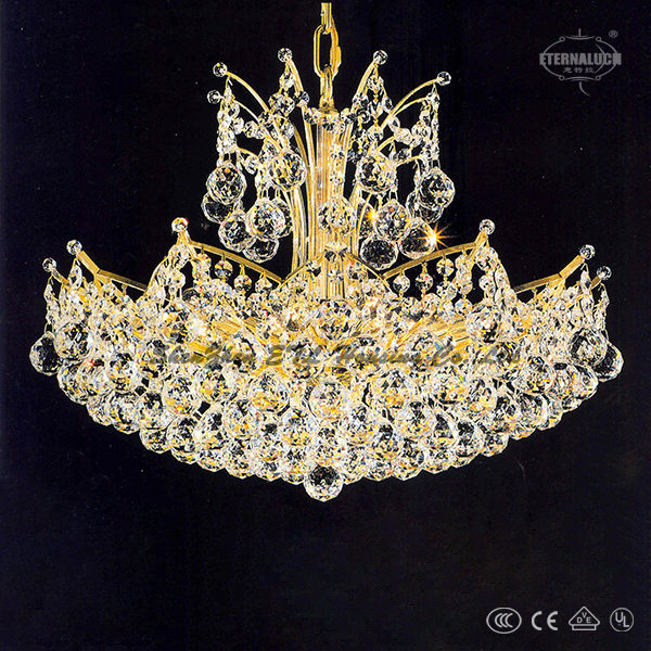 Hight Quality Luxury Unique European gold color 12 light crown shape crystal chandeliers made in china ETL80003B