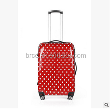 red dot printed pc spinner luggage