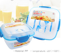 Plastic Salad-to-go container with folding spoon&fork, square &double tier