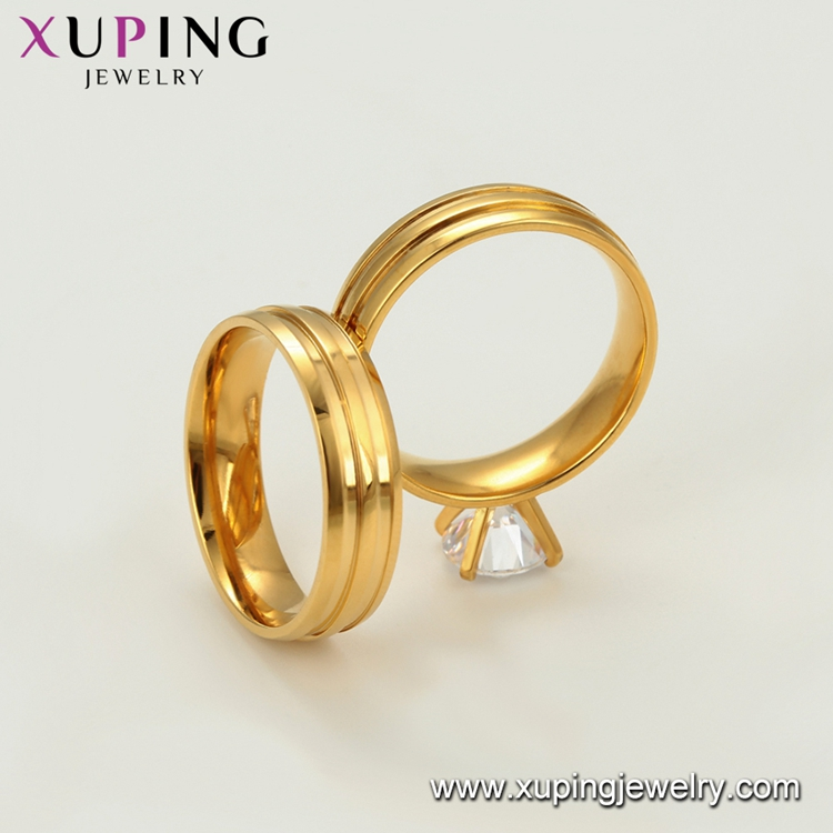 R-118 xuping love couple set bridal simple plating 24k gold dubai wedding rings jewelry
