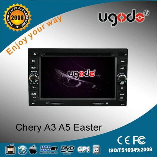double din car DVD for Chery A3 A5 easter with DVD GPS navigation radio bluetooth USB IPOD