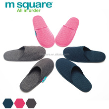 Travel accessory m square brand fabric foldable slippers with pouch