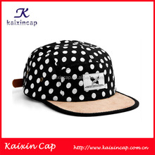 White Custom Woven Label Plain Black 5 Panel Cap And Hat With Various White Dots Print And Leather Strap Back Closure