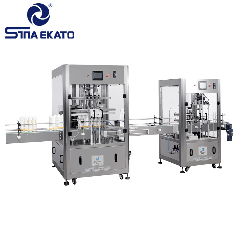 2017 hot products price TVF-QZ nozzle automatic liquid filling machine labeling machine