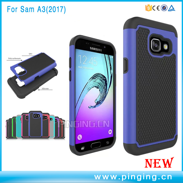 Factory whosale Football texture PC Silicone 2 in 1 hybrid phone case for samsung a3 2017 case