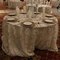 "132""ROUND CHAMPAGNE EMBROIDERY AFRICAN LACE DESIGNS CORD TABLE CLOTH FOR LUXURIOUS WEDDING"