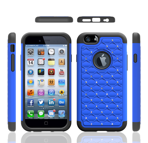 Fashion design diamond pc silicone with multi-color high quality shockproof phone case for iphone 6