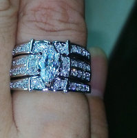 aaaa cubic zirconia marquoise cz set of three silver wedding bridal ring set