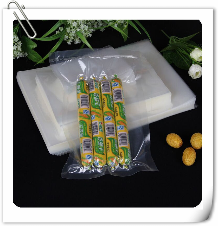 Clear vacuum sealed plastic PE PA pickle / bamboo shoot packaging bag with tear torth