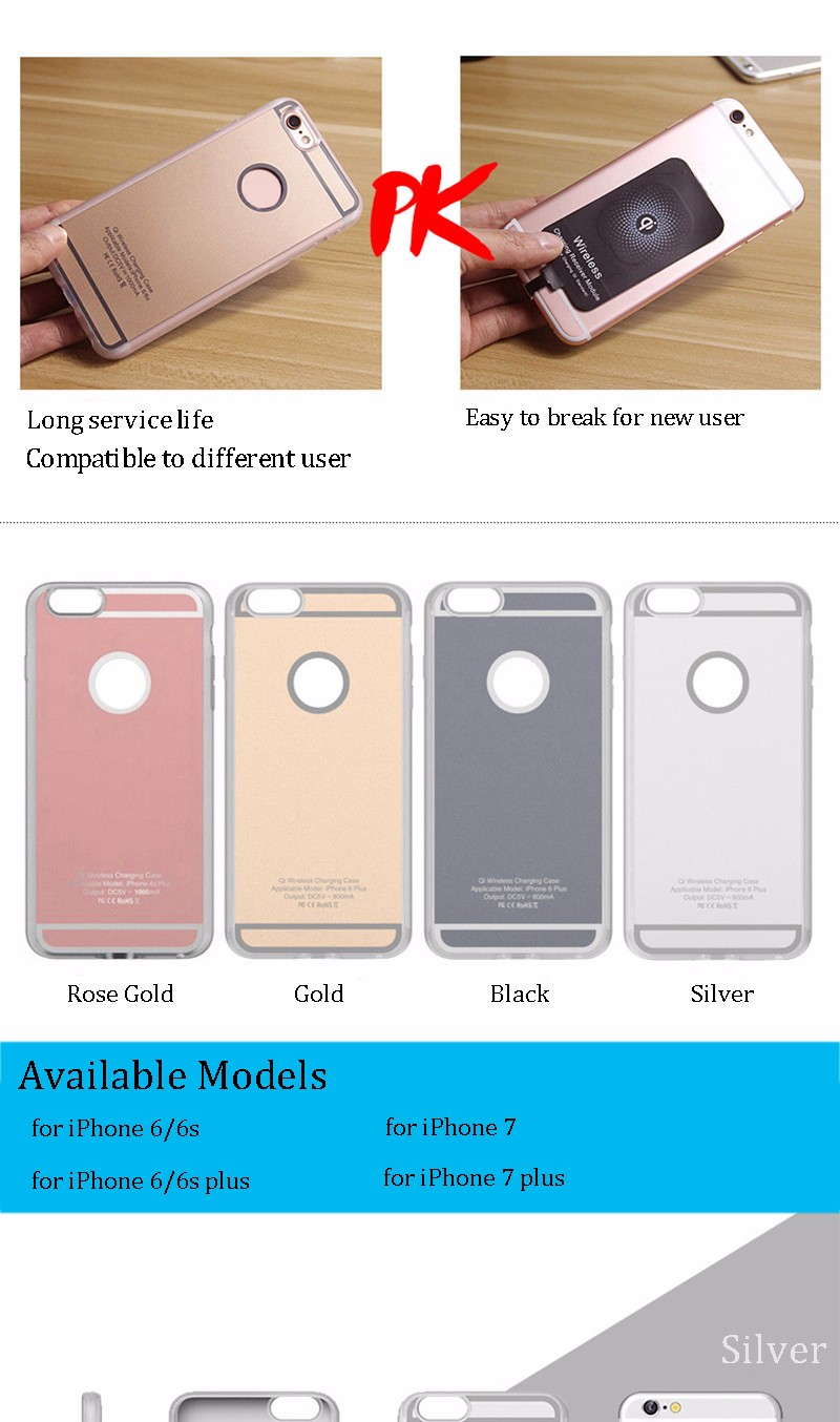 QI Charger Receiver for iPhone 6 Wireless Charging Case for iPhone 7 7 plus 6S 6S plus Receiving Housing Phone Case
