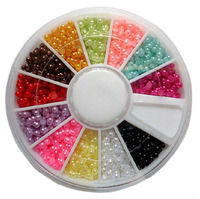 20pcs/lot 2mm 12 Color Shiny ABS Pearl Half-Round Wheel Manicure Charms Nail Art Tips Glitter DIY Nail Decorations