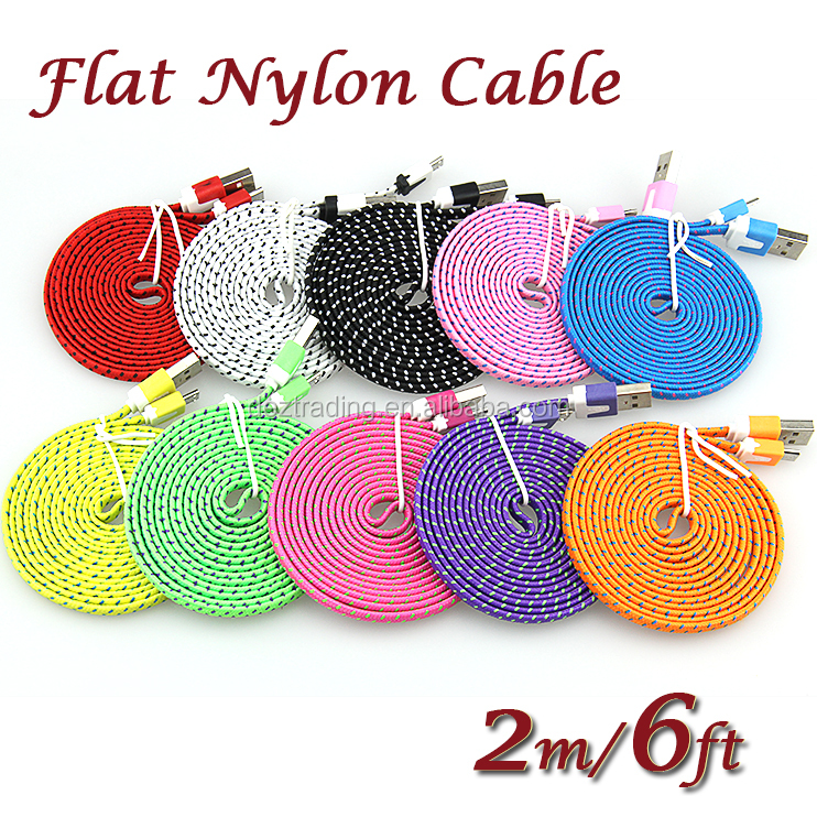 Wholesale 2M/6ft Fabric Woven Nylon Flat Micro USB 5Pin Data Sync <strong>Cable</strong> For Android phones factory price
