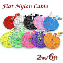 Wholesale 2M/6ft Fabric Woven Nylon Flat Micro USB 5Pin Data Sync Cable For Android phones factory price