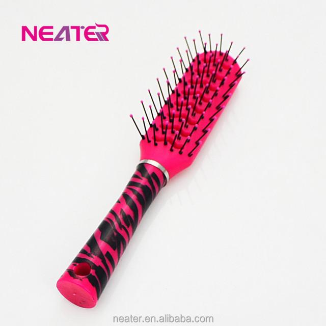 Bling color long handle salon hair brush and comb,bristle hair brush