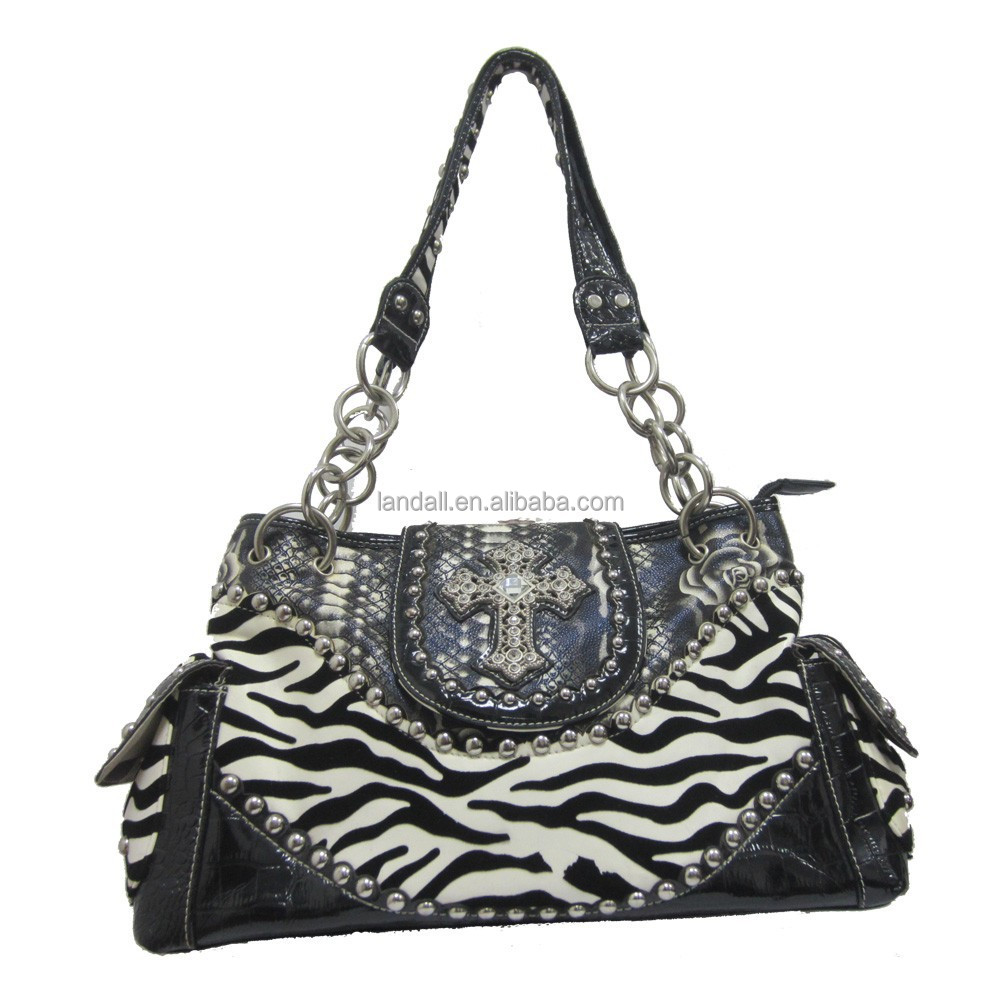 Fashion women's PU leather shoulder bag with zebra printing