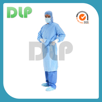 SMS, PP sterile disposable surgical gown has plastic snaps