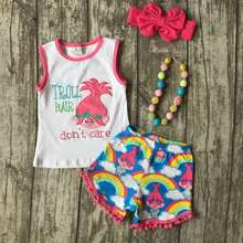 baby Girls Summer clothes girls children troll hair don;t care outfits kids rainbow shorts outfits with accessories
