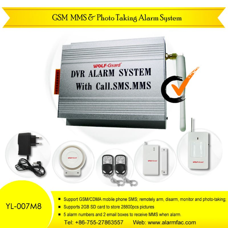 GSM MMS Home Alarm Security With Photo-Taking & Listen-in (YL-007M8)