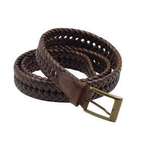 FM Brand fashion luxury High Quality unisex men women genuine leather woven braided brown belt with metal buckles for jeans