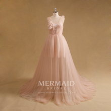Wholesale pink tulle sexy women evening dress