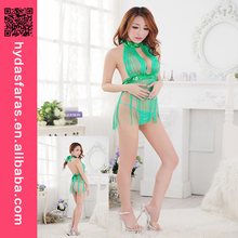 New Green Sexy Women lingerie Perspective Halter Neck Sexy Erotic Temptation Dress Backless Sleepwear Sex Lingerie