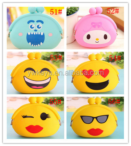 2017 Promotional Gift Silicone Emoji Rubber mini Coin Purse Wallet Change Purse