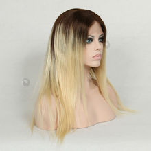 dark roots human hair blonde ombre color full lace wigs