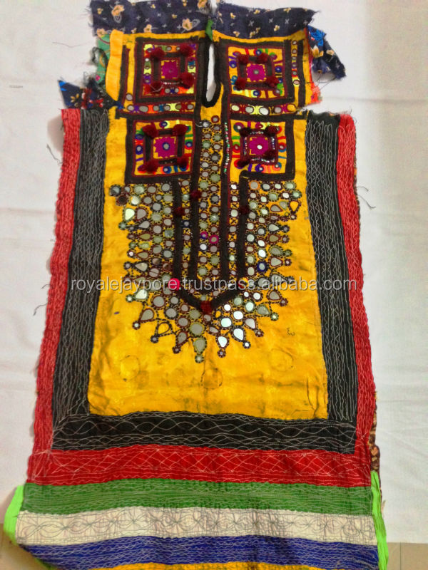 Hand embroidered vintage Banjara yoke mirrpr work dress Kutchi nomad dress