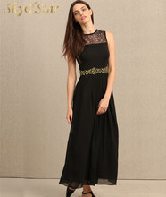 High quality fashion ladies black pleated lace fitting sleeveless maxi long prom dress with lining