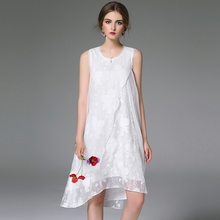 Beauty Elegant White Multi-layer Chiffon Loose embroidered dress