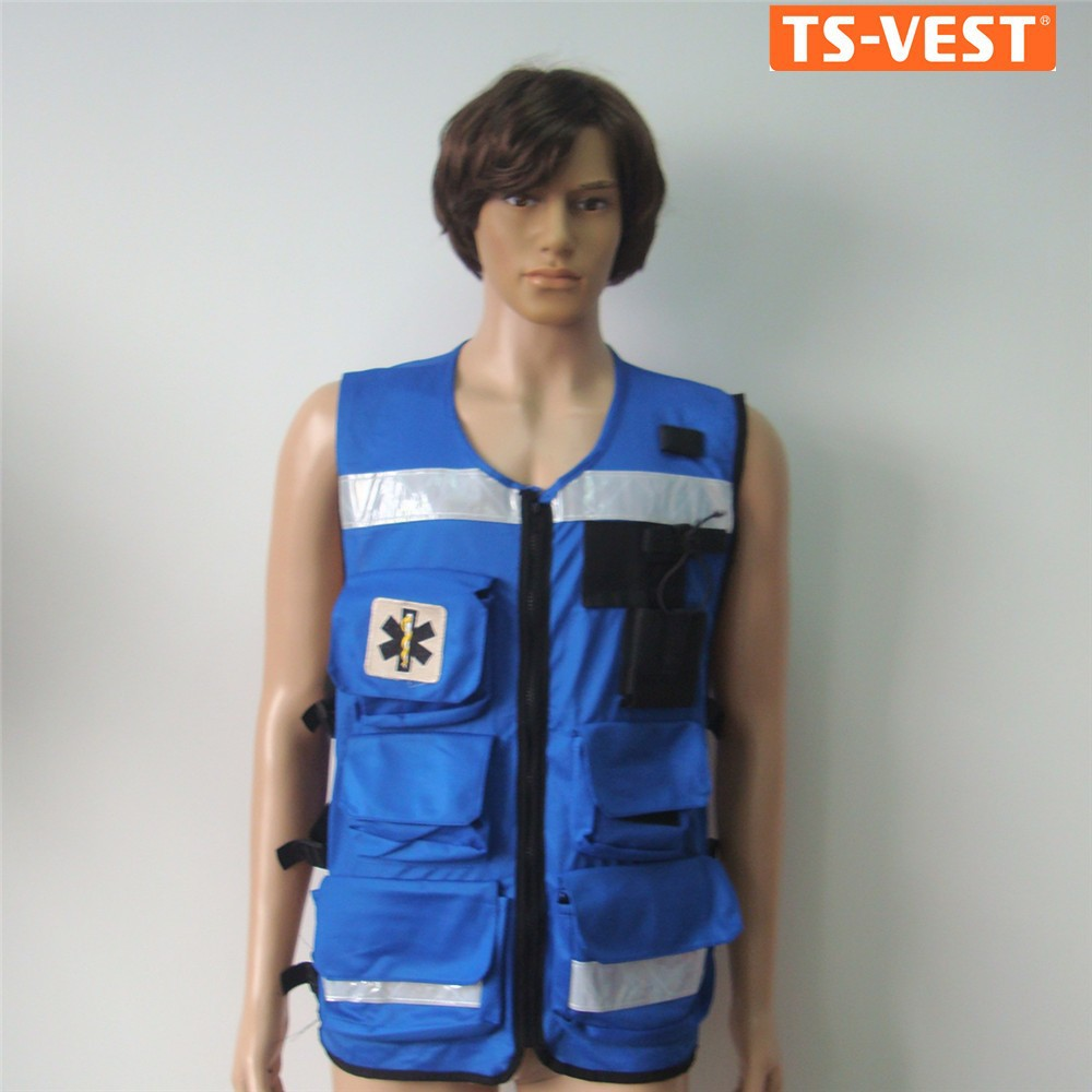 Factory price CE approved 100% cotton anti-shrink black blue men zipper fishing vest