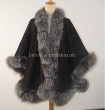 ladies cashmere cape with real fox fur trim hooded cape