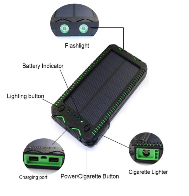 15000mAh solar mobile charger LED light in with compass solar power bank